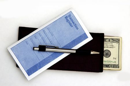 payable: Check Book, Transaction Register, Pen and cash against a white background Stock Photo