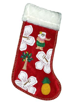Christmas stockings in hawaian style, with santa as a hula dancer photo
