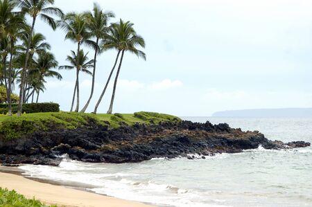 A tropical beach near kihei hawaii during a bright sunny day