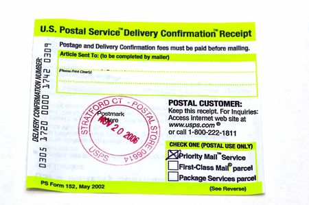 conformation: Postmarked USPS delivery conformation slip against a white background