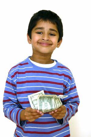 彼 pockey のお金と非常に幸せな子供 写真素材 - 671704