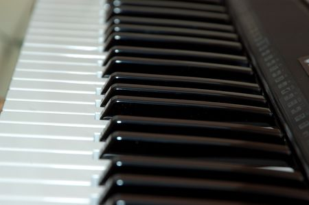 Close up shot of a piano shot with artifical light Banco de Imagens
