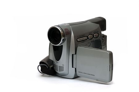A Digital Video camcorder isolated against a white background