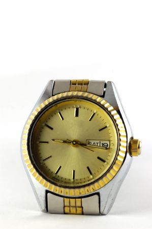 A Female wrist watch isolated agaisnt a white background