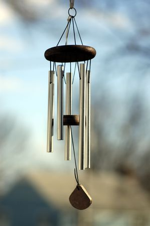 wind chime: A Wind chime isolated against a natural background