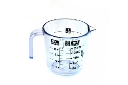 munch: A Measuring jar isolated against  a white background Stock Photo
