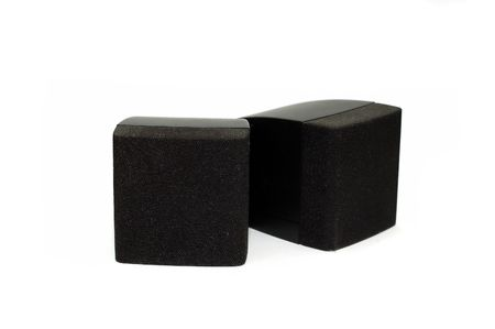 A pair os speakers isolated against a  white background