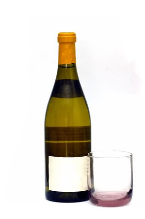 A white wine bottle isolated against a white background Standard-Bild