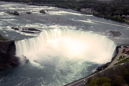 arial view: Arial view of Niagara falls on a bright summer day