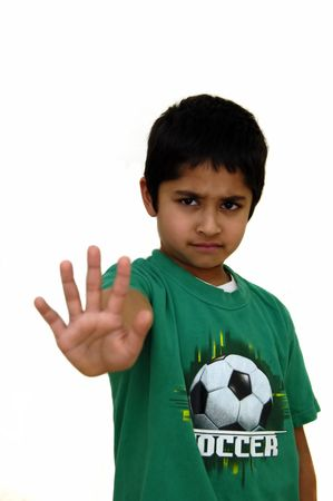 A Kid yelling stop against a white background Stock Photo - 765765