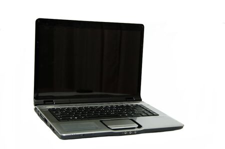 A Black laptop isolated against a white background photo