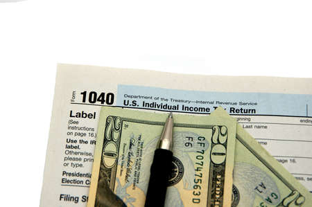 Money, Tax form and instructions isolated on a white background