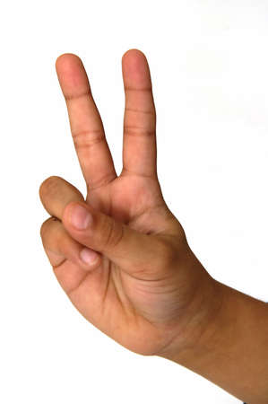 forefinger: A finger pointing two abstract represntation of two items Stock Photo