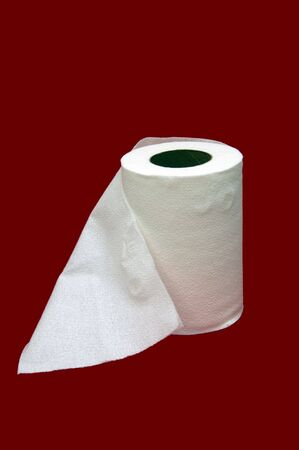 Toilet tissue isolated in a red background Stock Photo - 789220