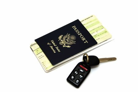 Passport and airline ticket isolated in a white background Stock Photo