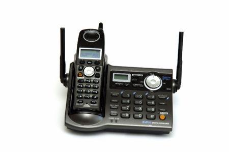 Cordless telephone isolated on white photo