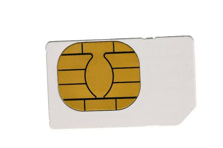 Closeup shot oif a sim card isolated on a light background
