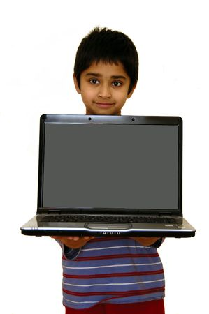 A child holding a laptop ready to put your message Stock Photo