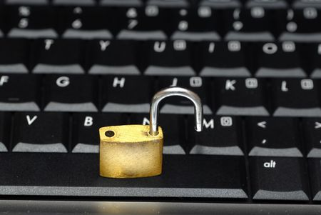 Laptop keyboard and a padlock concept of data security Stock Photo - 892930