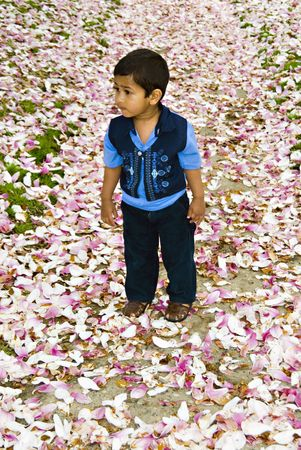 curiously: An indian child stopping by curiously enjoying the nature Stock Photo