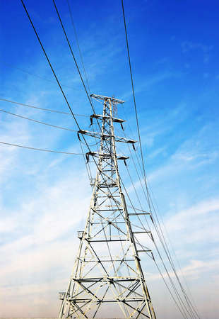 High voltage power line on a blue sky