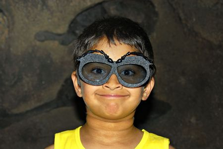 A handsome kid excited wearing funny googles Banco de Imagens