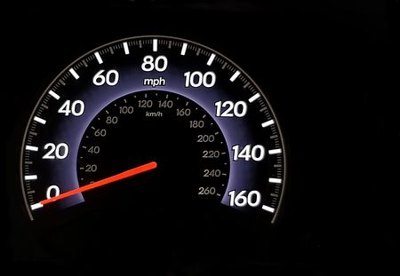 kilometres: An automobile odometer with copy space all around