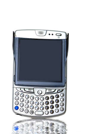 flip phone: A PDA flip phone against a white background