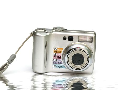 Digital Camera isolated against a white background Stock Photo