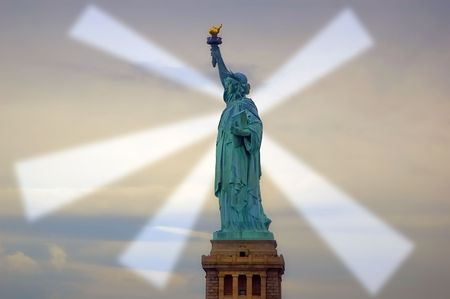 emanating: Freedom rays emanating from the statue of liberty Stock Photo