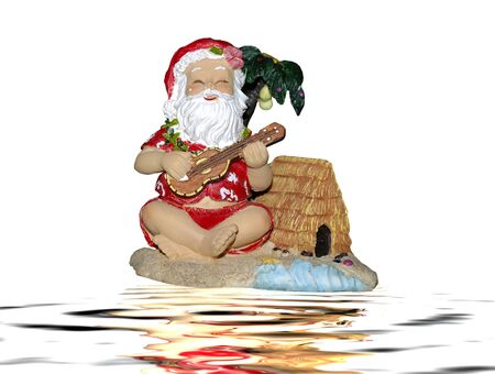 Santa claus dressed in traditional hawaiian costume