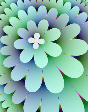 rendition: Fractal rendition of multi-colored flower back ground