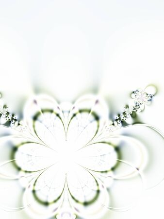 rendition: Fractal rendition of a spring flower with copyspace to left