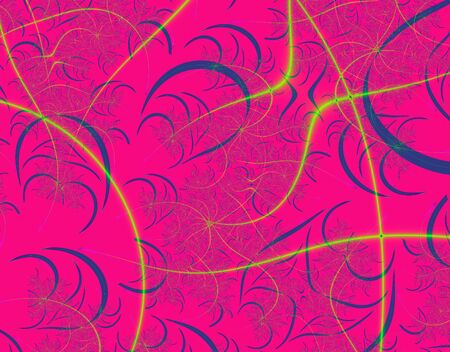 rendition: Fractal rendition of pink curve background