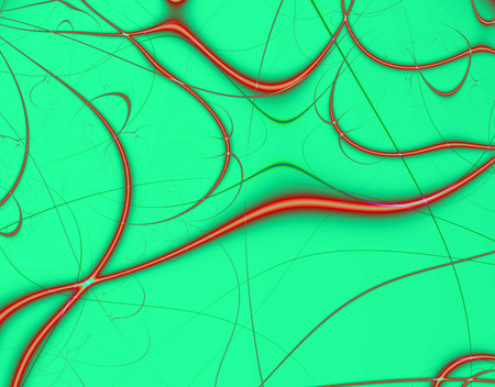 Fractal rendition of red strings in a green background