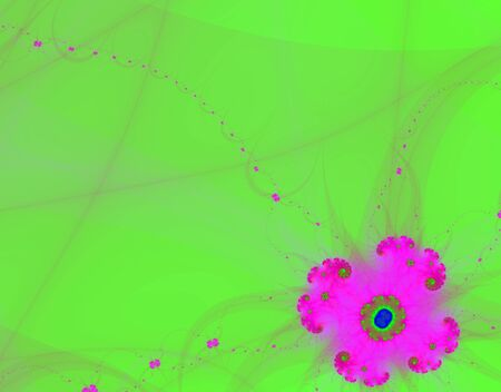 generating: Fracta; rendition of violet flower with green copy space Stock Photo