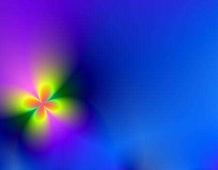 Fractal uitlevering van een blauwe bloem achtergrond met kopie ruimte naar rechts