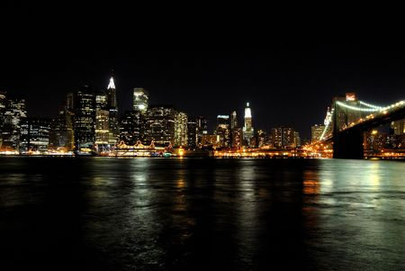 Beautifuly lit NY skyline at the night