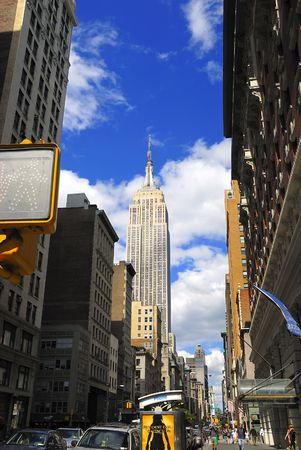 distant work: Empire state building on a bright sunny day