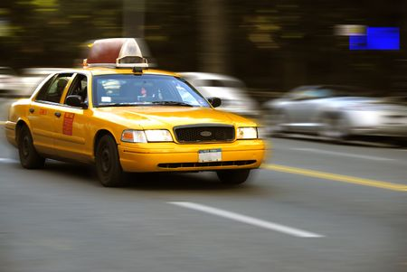 A cab on the streets of New York City with motion effects