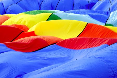 Close up shot of the colorful cloth in an hot air balloon