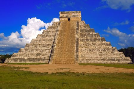 high priest: An ancient Mayan pyramid on a sunny summer day