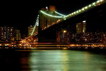 New Yourk skyline and bridge at night time Stock Photo - 2346618