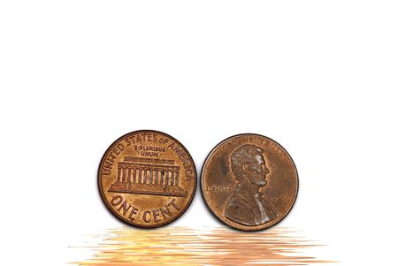 Two cents isolated on white background concept of idea photo
