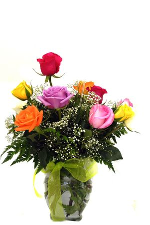 A beautiful vase of roses as an valentine gift photo