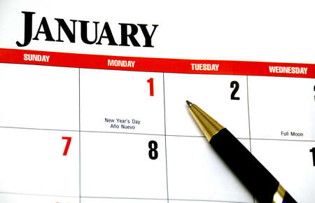 Calendar and pen concept of new year Stock Photo