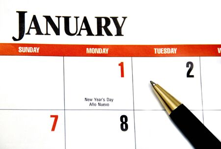 scheduler: Calendar and pen concept of new year Stock Photo