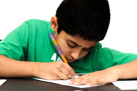 diligent: Handsome diligent kid doing his home work Stock Photo