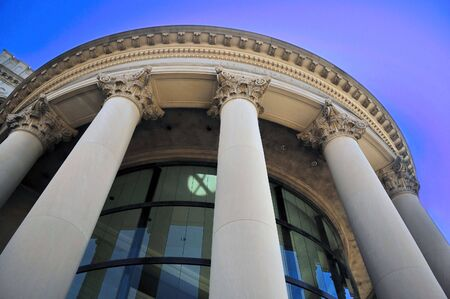academia: Wide angle view of an old building with columns