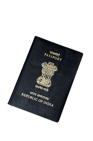 overseas visa: An indian passport isolated on a white background Stock Photo
